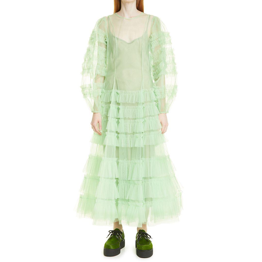 Kendi Frill Long Sleeve Ruffle Tulle Dress