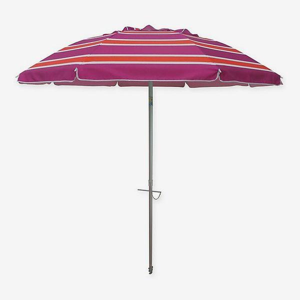 7-Foot Stripe Beach Umbrella in Orange/Pink