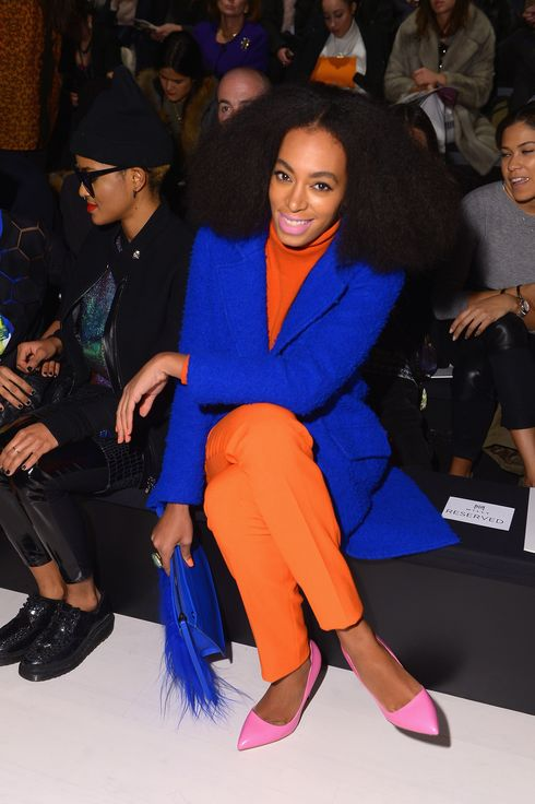 NEW YORK, NY - FEBRUARY 10: Solange Knowles attends the Milly By Michelle Smith fashion show during Mercedes-Benz Fashion Week Fall 2014 at The Salon at Lincoln Center on February 10, 2014 in New York City.  (Photo by Michael Loccisano/Getty Images for Mercedes-Benz Fashion Week)