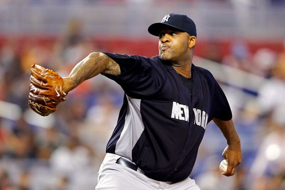 MIAMI, FL - APRIL 01: CC Sabathia #52 of the New York Yankees pitches during a game against the Miami Marlins at Marlins Park on April 1, 2012 in Miami, Florida. (Photo by Mike Ehrmann/Getty Images)