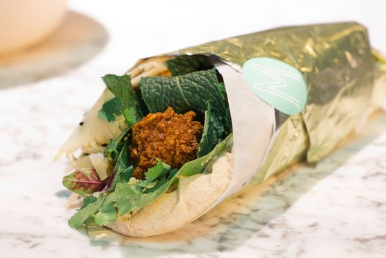 """""""Ours is like a blonde falafel,"""" Kramer says. """"A lot of falafel are green, and we're not doing that because we're putting fresh herbs into our sandwiches."""""""