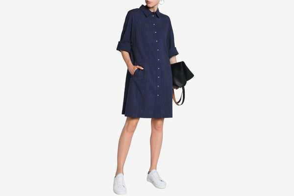M.I.H Jeans Crinkle Cotton and Linen Shirt Dress