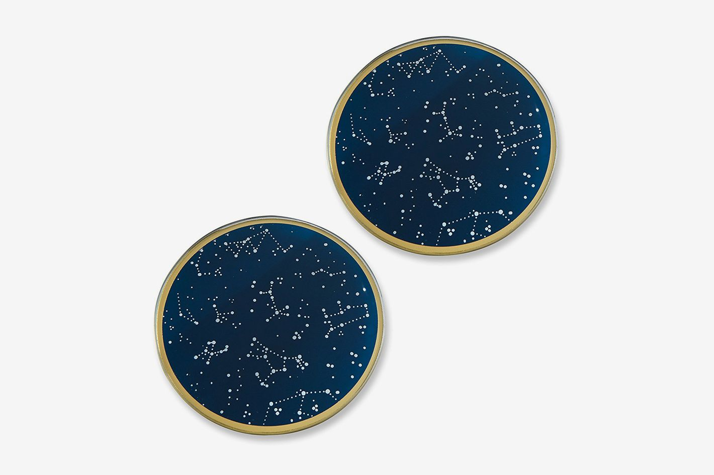 Kate Aspen Under the Stars Glass Coasters, Navy/Gold/White