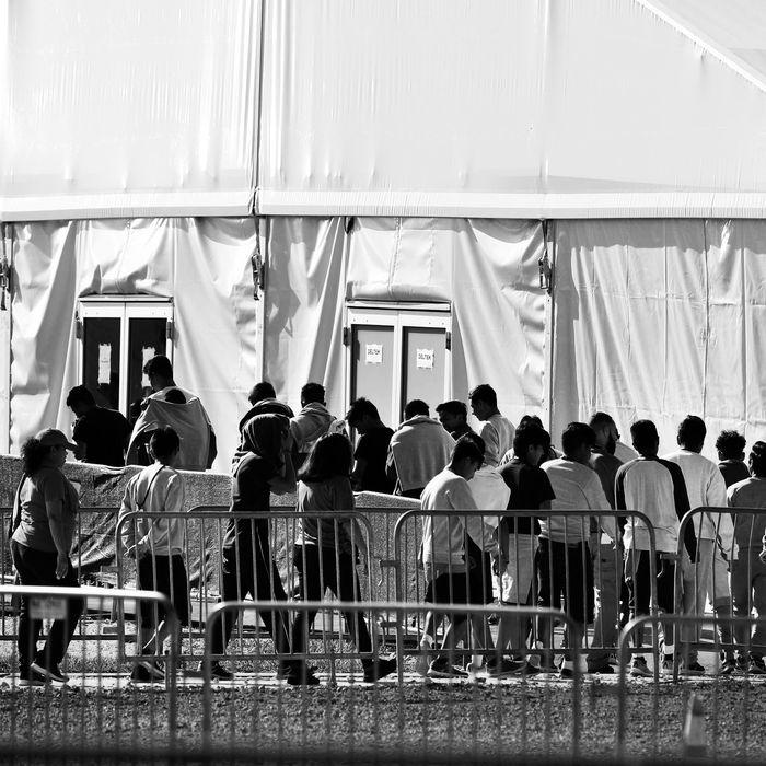 Migrant children at a U.S. detention center.