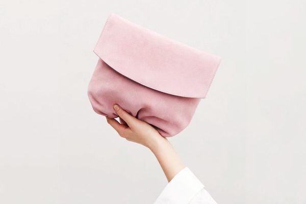 COS Gathered Suede Shoulder Bag