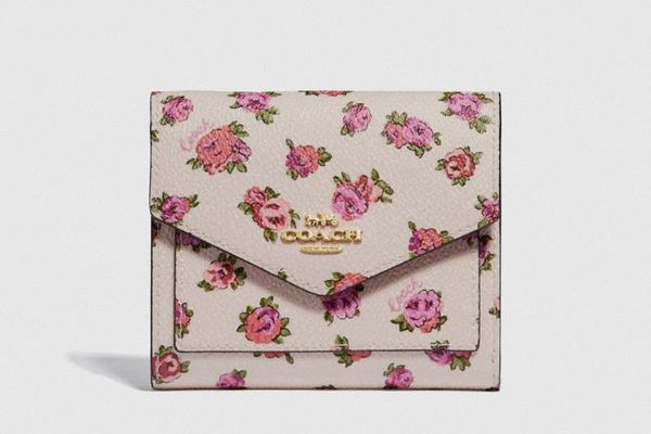 Coach Small Wallet With Mini Vintage Rose Print