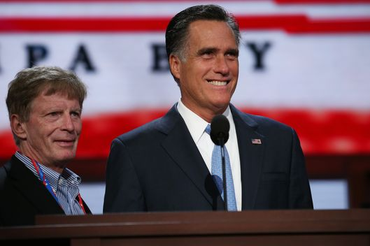 TAMPA, FL - AUGUST 30:  Republican presidential candidate, former Massachusetts Gov. Mitt Romney (R) stands at the podium for a soundcheck with campaign adviser Stuart Stevens during the final day of the Republican National Convention at the Tampa Bay Times Forum on August 30, 2012 in Tampa, Florida. Former Massachusetts Gov. Mitt Romney was nominated as the Republican presidential candidate during the RNC which will conclude today.  (Photo by Chip Somodevilla/Getty Images)