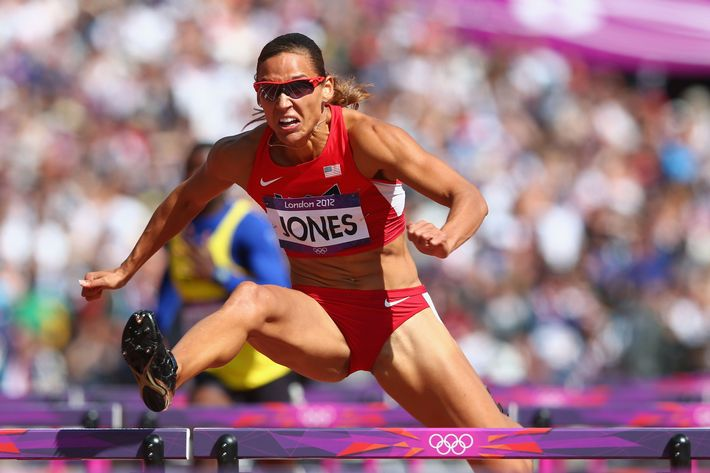 Lolo Jones of the United States competes in the Women's 100m Hurdles heat on Day 10 of the London 2012 Olympic Games at the Olympic Stadium on August 6, 2012 in London, England.
