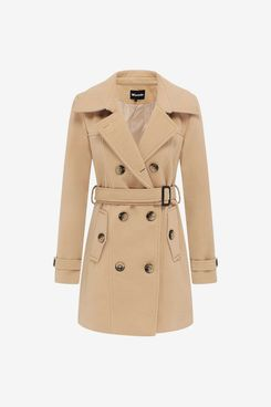 Wantdo Women's Belted Double-Breasted Trench Coat