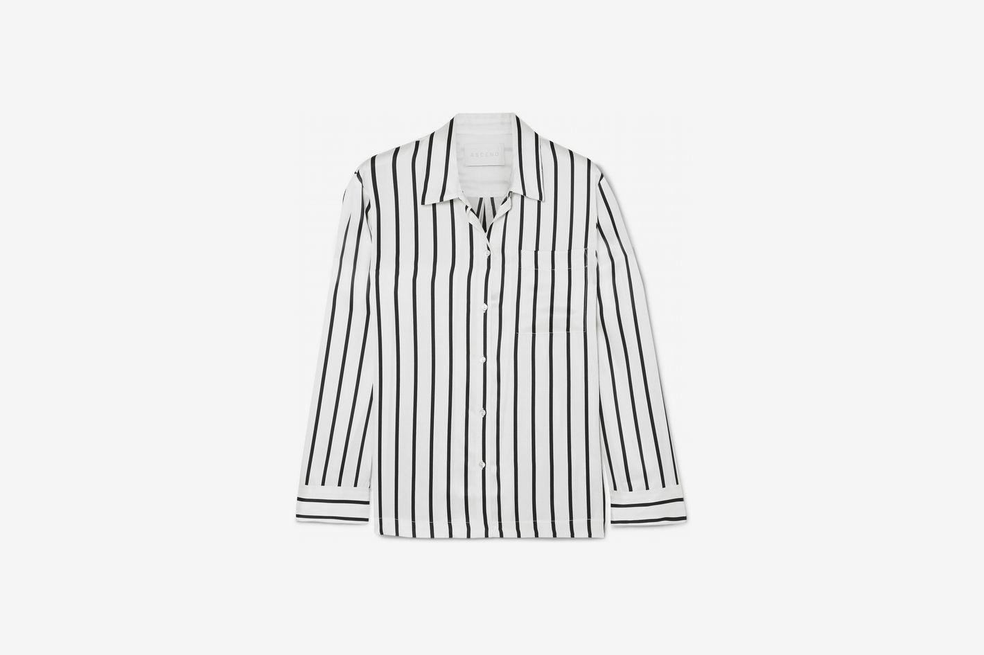 8ad6905913 Asceno Striped Silk-Satin Pajama Shirt