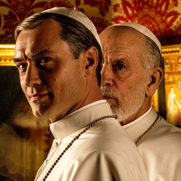Jude Law and John Malkovich in HBO's The New Pope.