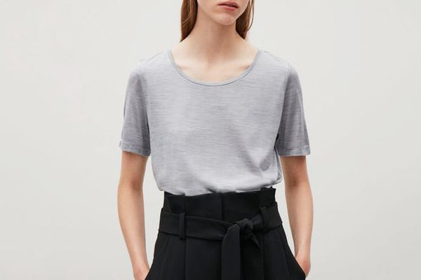 COS Silk Jersey T-shirt in Gray