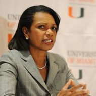 "Condoleezza Rice discusses memoir ""No Higher Honor"" at Bank United Center on November 3, 2011 in Miami, Florida."