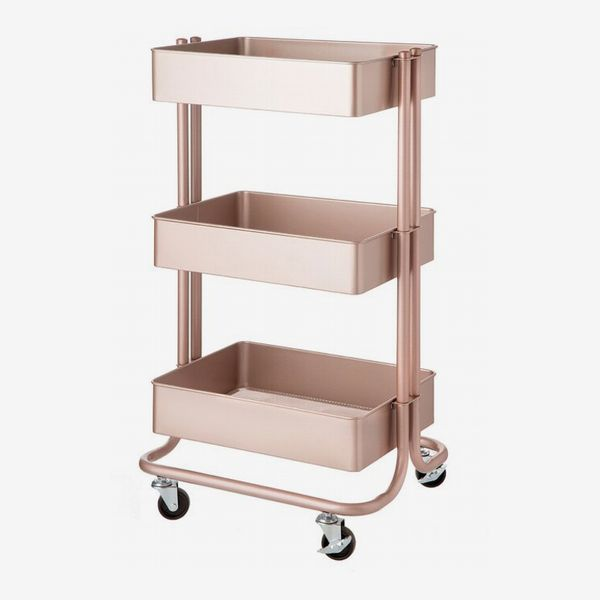 Wayfair Dotted Line Rose Gold Bart 3-Tier Metal Rolling Cart