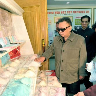 This undated photo released by North Korea's official Korean Central News Agency (KCNA) on May 8, 2011 shows North Korean leader Kim Jong-Il (C) visiting the Rakrang Ponghwa Garment Factory in Pyongyang. RESTRICTED TO EDITORIAL USE - MANDATORY CREDIT