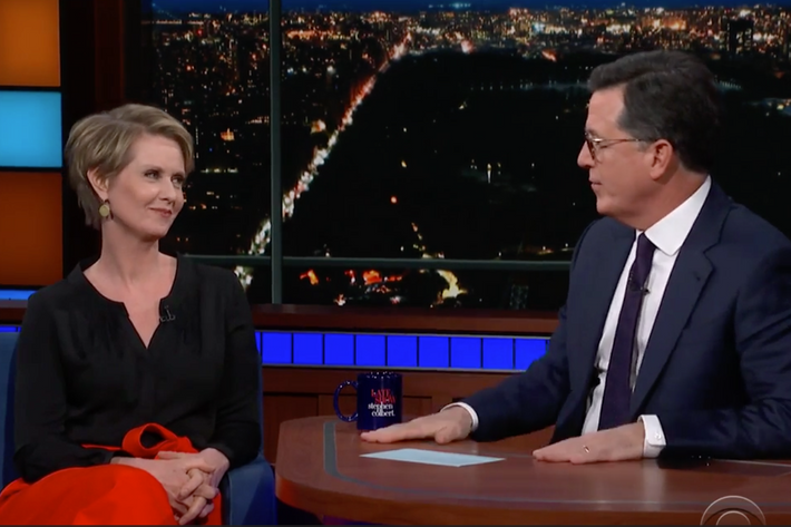 Cynthia Nixon with Stephen Colbert