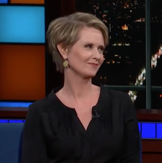 Cynthia Nixon with Stephen Colbert