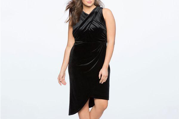 Velvet Asymmetrical Mock Neck Dress