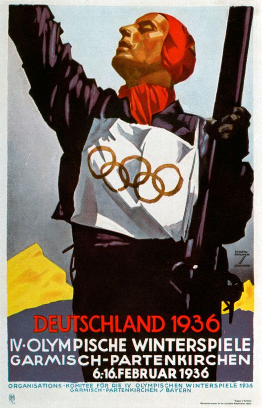 Poster for the 1936 Winter Olympic Games in Garmisch-Partenkirchen, Germany, 1936. A print from Olympia 1936, Die Olympischen Spiele 1936, Volume I, Cigaretten-Bilderdienst, Hamburg, 1936. (Photo by The Print Collector/Print Collector/Getty Images)