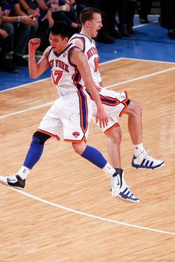 NEW YORK, NY - FEBRUARY 19:  (NEW YORK DAILY NEWS OUT) Jeremy Lin #17 and Steve Novak #16 of the New York Knicks celebrate during a game against the Dallas Mavericks on February 19, 2012 at Madison Square Garden in New York City. NOTE TO USER: User expressly acknowledges and agrees that, by downloading and/or using this Photograph, user is consenting to the terms and conditions of the Getty Images License Agreement.  (Photo by Jeff Zelevansky/Getty Images)