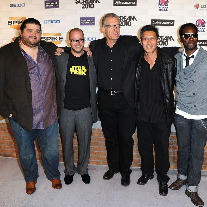 (L-R) Actors Jorge Garcia, executive producers Damon Lindelof, Carlton Cuse, actors Francois Chau and Harold Perrineau onstage during Spike TV's