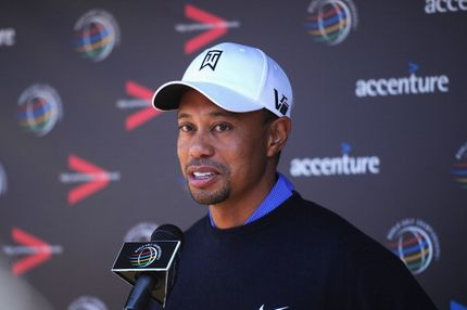 MARANA, AZ - FEBRUARY 19: Tiger Woods of USA talks with the media during his press conference prior to the start of the World Golf Championships-Accenture Match Play Championship at the Ritz-Carlton Golf Club on February 19, 2013 in Marana, Arizona. (Photo by Stuart Franklin/Getty Images)