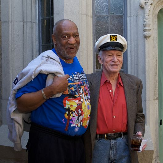 BEVERLY HILLS, CA - FEBRUARY 10:  Bill Cosby and Hugh Hefner at The Playboy Mansion on February 10, 2011 in Beverly Hills, California.  (Photo by Earl Gibson III/WireImage) *** Local Caption *** Bill Cosby;Hugh Hefner