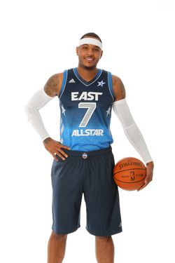TARRYTOWN, NY - FEBRUARY 1: Carmelo Anthony #15 of the New York Knicks poses for portraits as being named as a starter for the 2012 NBA All-Star game at the Knicks Practice facility on February 1, 2012 in Tarrytown, New York. NOTE TO USER: User expressly acknowledges and agrees that, by downloading and/or using this photograph, user is consenting to the terms and conditions of the Getty Images License Agreement.  Mandatory Copyright Notice: Copyright 2012 NBAE (Photo by Nathaniel S. Butler/NBAE via Getty Images)