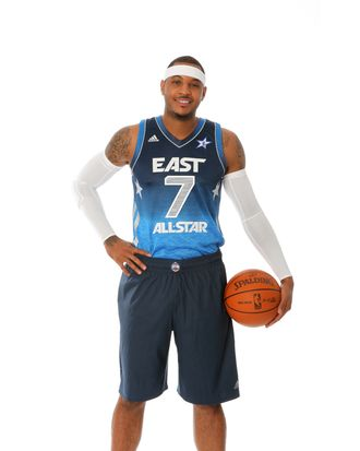 Carmelo Anthony #15 of the New York Knicks poses for portraits as being named as a starter for the 2012 NBA All-Star game at the Knicks Practice facility on February 1, 2012 in Tarrytown, New York.