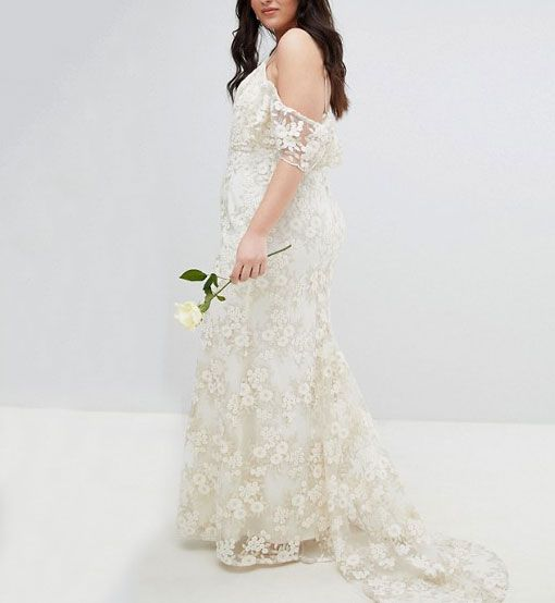 ASOS Edition Curve Floral Lace Bandeau Maxi Wedding Dress