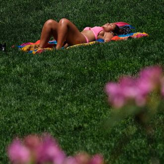 A woman relaxes in the sun at Central Park during a warm sunny day in New York on May 25, 2016.