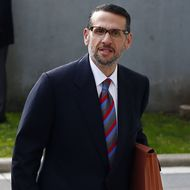 01 May 2015, Newark, New Jersey, USA --- David Wildstein, right, along with his attorney Alan Zegas, enter Martin Luther King Jr. Federal Courthouse in Newark, N.J. Friday, May 1, 2015. Wildstein, a former Port Authority appointee of New Jersey Gov. Chris Christie, is set to plead guilty on charges arising from a federal probe into traffic jams he ordered on the George Washington Bridge, allegedly on behalf of Christie. (AP Photo/Rich Schultz) --- Image by ? Rich Schultz/AP/Corbis