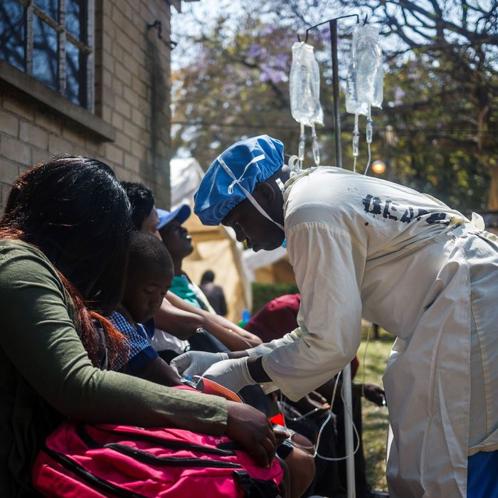 A nurse takes care of cholera patients in Harare, Zimbabwe.