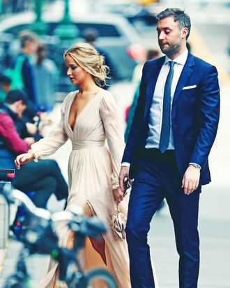 Jennifer Lawrence and Cooke Maroney outside their engagement party.