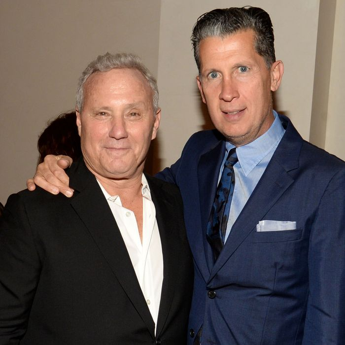 Ian Schrager, Stefano Tonchi==IAN SCHRAGER AND STEFANO TONCHI CELEBRATE THE LAUNCH OF THE NEW YORK EDITION AND W ART==The New York EDITION, NYC==May 12, 2015==?Patrick McMullan==Photo - Clint Spaulding/PatrickMcMullan.com====