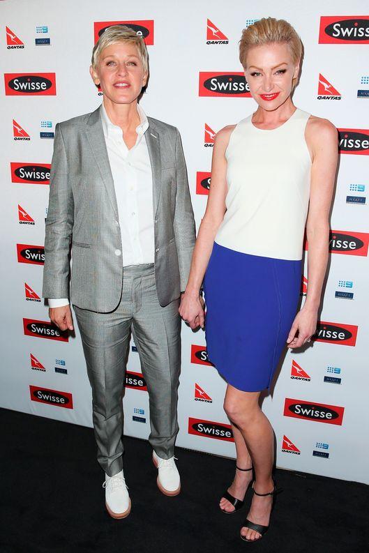 TV personality, Ellen DeGeneres and her wife Portia de Rossi arrive at a Ellen DeGeneres Welcome Party on March 26, 2013 in Melbourne, Australia. Ellen DeGeneres is in Australia to film segments for her TV show, 'Ellen'.