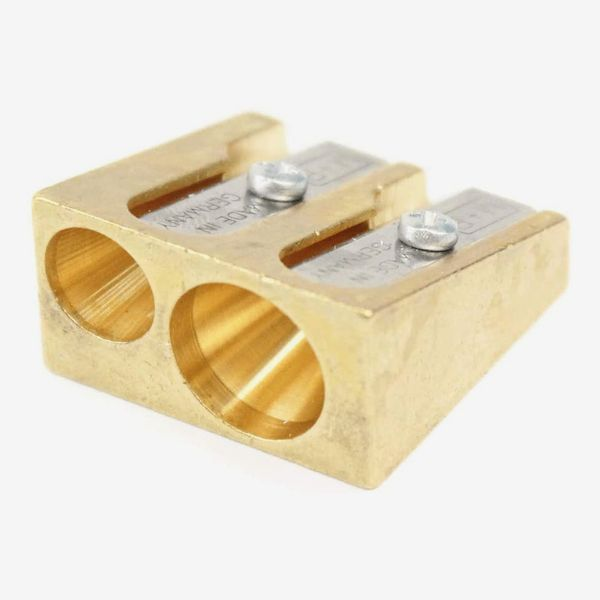 Mobius + Ruppert Brass Double Hole Wedge Shaped Pencil Sharpener