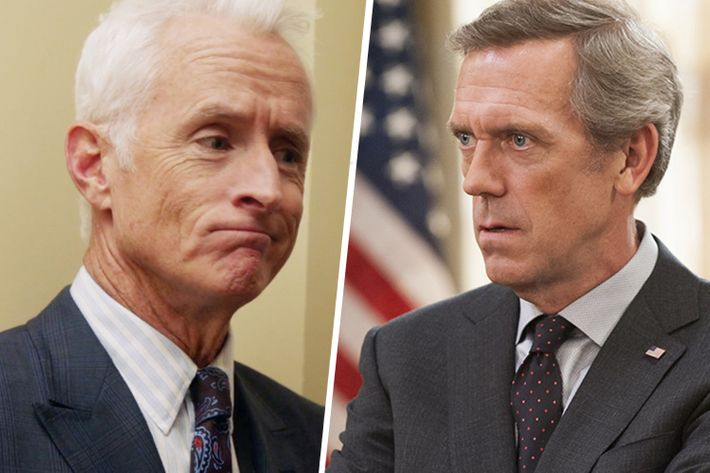 John Slattery and Hugh Laurie on Veep