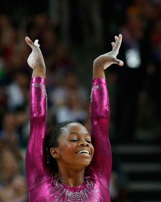 US gymnast Gabrielle Douglas performs on the floor during the artistic gymnastics women's individual all-around final at the 02 North Greenwich Arena in London on August 2, 2012 during the London 2012 Olympic Games. Douglas won the event.