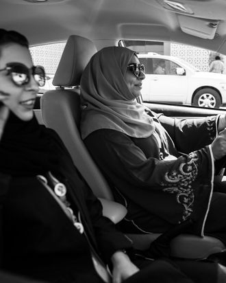 A Saudi woman drives legally on June 24.