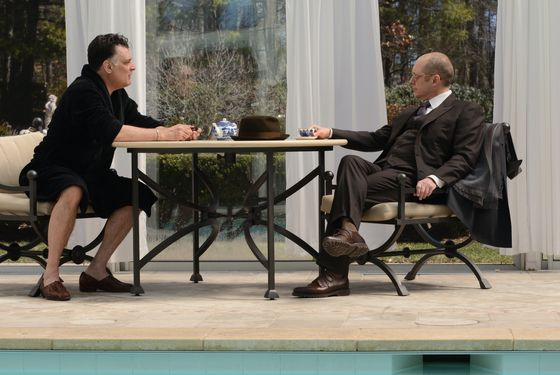 "THE BLACKLIST -- ""The Kingmaker"" Episode 119 -- Pictured: (l-r) Joseph Siravo as Niko Demakis, James Spader as Raymond Reddington -- (Photo by: Nicole Rivelli/NBC)"