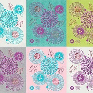 Trendy Tripper Swedish Dishcloths, Reusable Set of 6