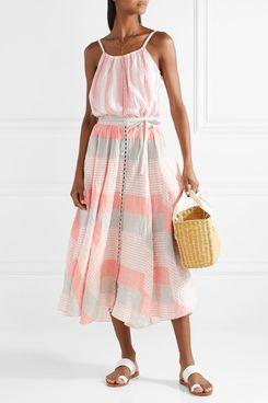 LemLem Dera Godet striped cotton-blend gauze midi skirt