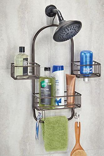 mDesign Bathroom Swing Shower Caddy for Shampoo, Conditioner, Razors — Bronze