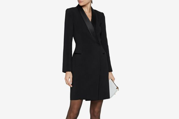 Iris & Ink + Julia Restoin Roitfeld Julia Satin-Trimmed Cady Mini Tuxedo Dress