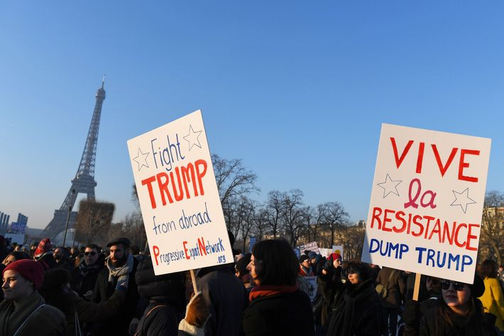 In the current: Trump is welcomed into office by protests, marches