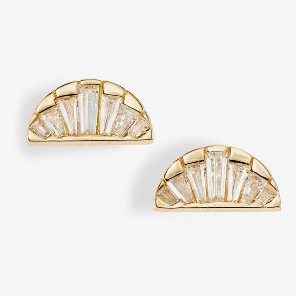 Argento Vivo Baguette Fan Stud Earrings