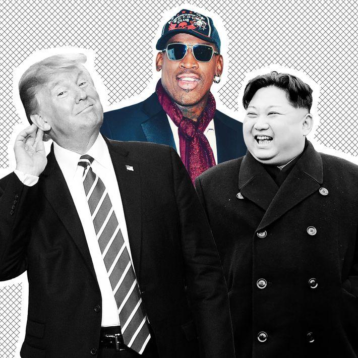Donald Trump, Dennis Rodman, and Kim Jong Un