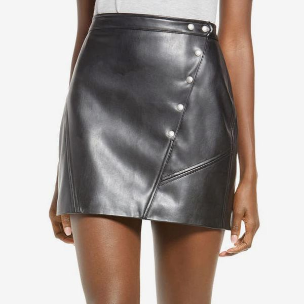Snap Faux Leather Skirt