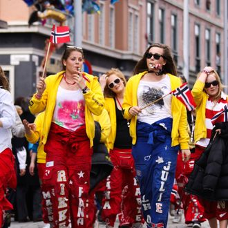 Norwegian teenagers during russefeiring.